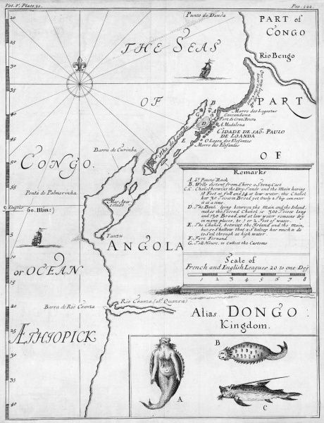 Map of Angola, with a mermaid