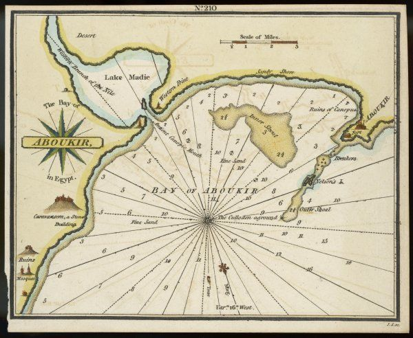 Map of Egypt: Aboukir Bay, scene of the Battle of the Nile (1 August 1798)