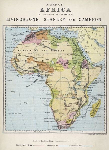 A map of Africa which illustrates the travels of the explorers Livingstone, Stanley and Cameron