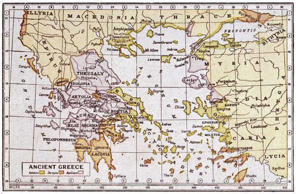 A map showing the extent of the Greek Empire and the surrounding territories