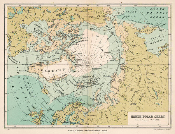 Map of the Arctic Circle and surrounding areas