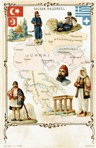 Postcard map showing the Balkans, highlighting Greek and Turkish territory