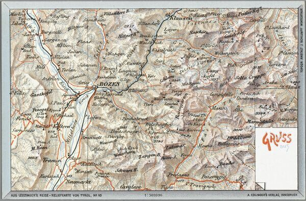 Map of Bozen / Bolzano - Italy - then (at the time of publication) part of the Austro-Hungarian Empire. Annexed by Italy at the end of World War I