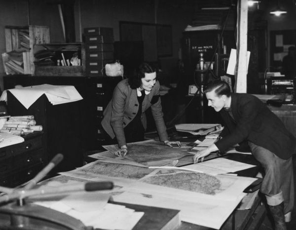 Working in the map department during World War II