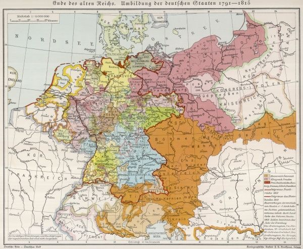 Showing the end of the old German Empire and the reconstruction of the German States, 1791 - 1815