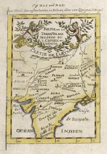 Central India, parts of Pakistan & Bangladesh & the sources of two great rivers the Ganges & Indus. A map with ornate title cartouche and floral surrounds