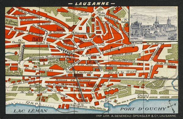 A colourful map of Lausanne, with a small engraved insert of the city