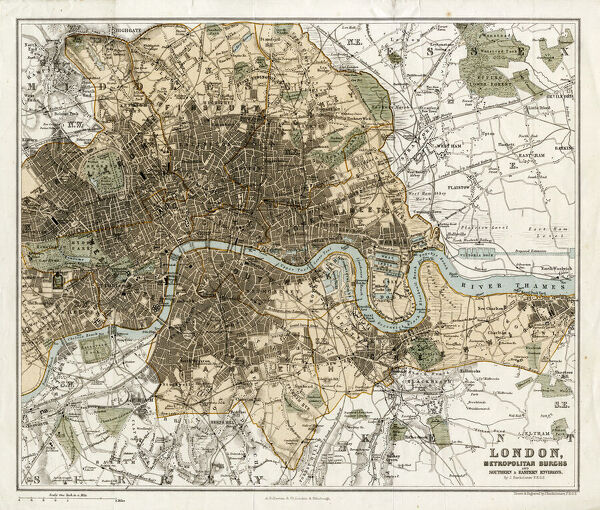 Map of London and its suburbs