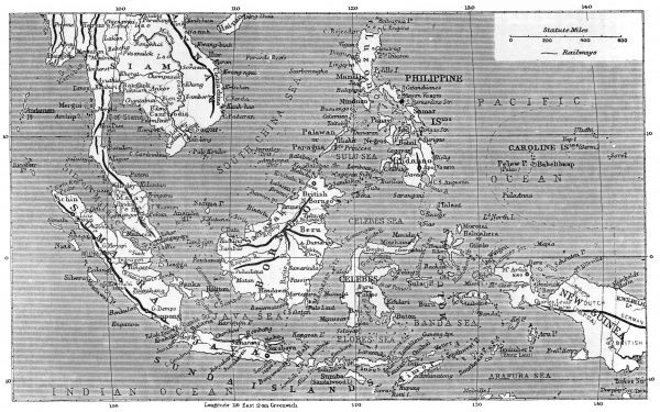 A map showing all the islands that make up Malaysia Date: 1908