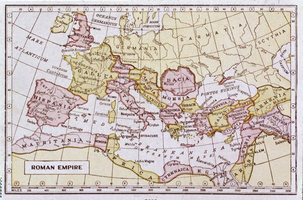 A map showing the extent of the Roman Empire
