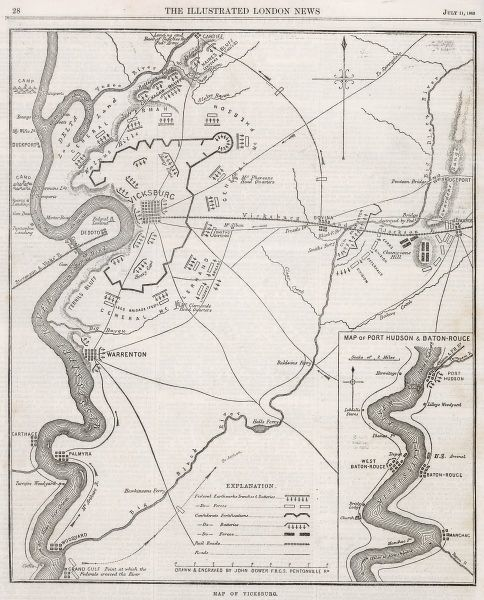 Map of Vicksburg, Mississippi, during the US Civil War when Ulysses S Grant and his army of the Tennessee drove the Confederate army of John C Pemberton back to Vicksburg and besieged the city