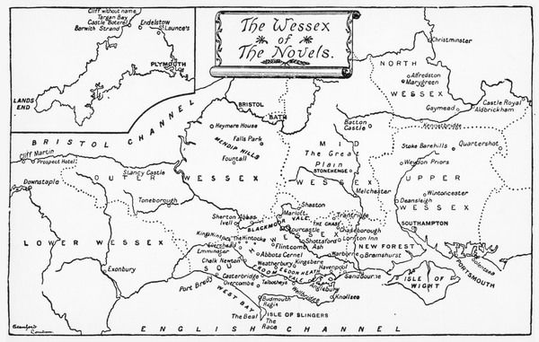 A map of the Wessex of the novels