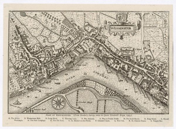 Map of Westminster, London, 1593