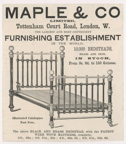 A brass bedstead from Maple's, London's best-known furniture store : cost, 38 shillings to 52s 6d according to width : you tighten the mattress with a handle