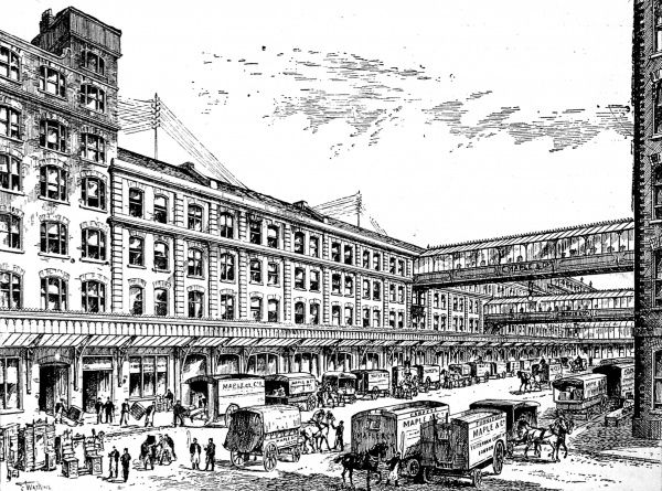 Engraving showing the exterior of Maple and Company's show rooms in Tottenham Place, London, 1893. Maple and Co. had a large department store in Tottenham Court Road