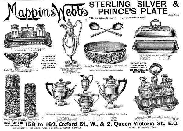 Advertisement for Mappin & Webb's Sterling Silver and Prince's Plate, published in 1895