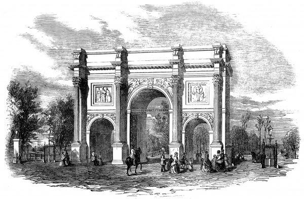Engraving showing the Marble Arch at Cumberland Gate, Hyde Park, London, 1851