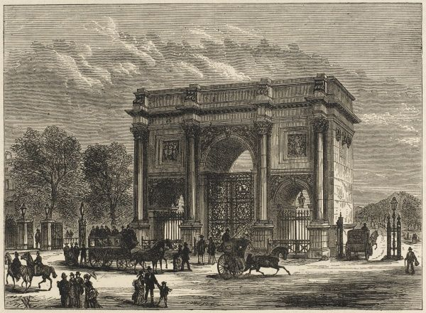 Nash's arch was originally built in 1827 and placed in front of Buckingham Palace, but was moved to its present site in 1851