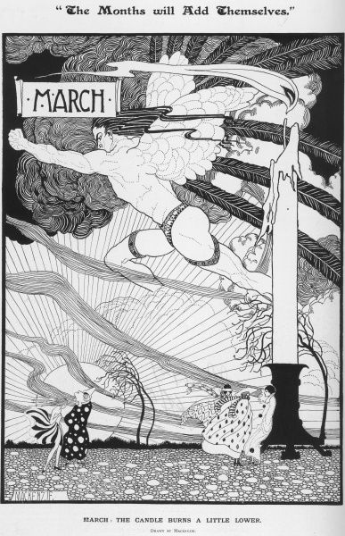 A black and white illustration of a fantasy scene depicting the month of March