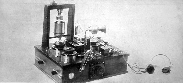 A wireless telephone transmitter and receiver from 1919 produced by the Marconi Company, capable of transmitting speech two thousand miles from Ireland to Nova Scotia