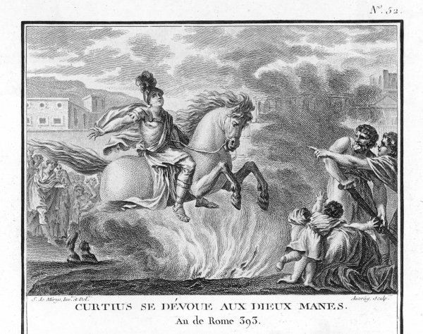 When a fissure appears in the Forum in Rome, the oracle demands a sacrifice. A young horseman, Marcus Curtius, volunteers and rides into it, nobly giving his life for the city he loves