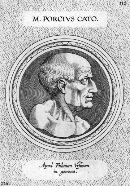 MARCUS PORCIUS CATO (234-149 BC), Roman statesman, known as Censorius (the Censor), Sapiens (the Wise), Priscus (the Ancient), or Maior (the Elder). Date: 234 - 149 BC