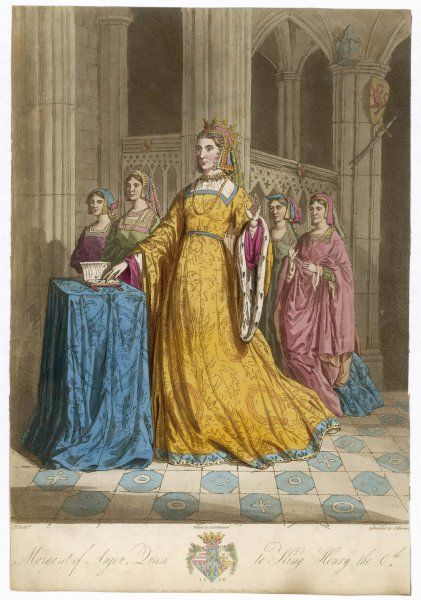 MARGARET OF ANJOU Queen of Henry VI of England, daughter of Rene, duc d'Anjou. Accompanied by ladies of the court. Tapestry in St Mary's Hall Coventry