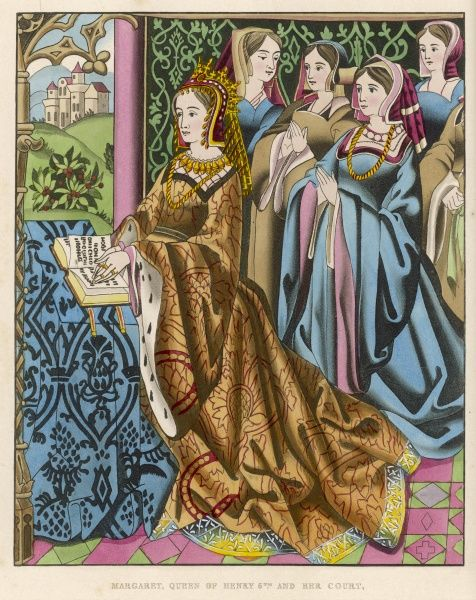 MARGARET OF ANJOU queen of Henry VI, daughter of Rene d'Anjou, - with her court from a tapestry in St Mary's Hall, Coventry