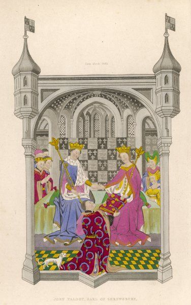 MARGARET OF ANJOU The Earl of Shrewsbury, John Talbot, presenting his book to Queen Margaret