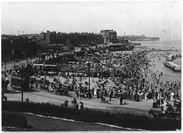 Holiday makers crowd the beach, Margate, on the Isle of Thanet, Kent, England