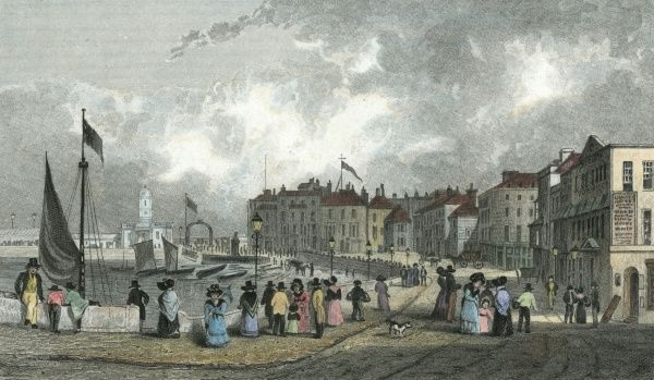 Margate, Kent: the Marine Parade and New Droit House Date: 1830