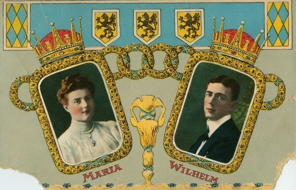 Postcard of Grand Princess Maria Pavlovna and Prince Wilhelm of Sweden. They were married 1908-1914. Date