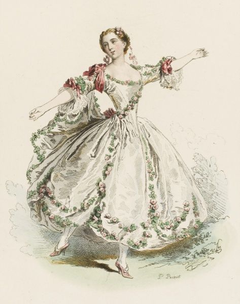 MARIE CAMARGO, Brussels-born dancer at the Paris Opera, responsible for the introduction of many technical innovations. (from a picture by Lancret.)