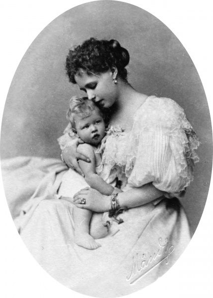 Princess Marie of Edinburgh and Saxe-Coburg, Crown Princess of Romania, later Queen of Romania (1875-1938), with her first child, Prince Carol, later King Carol II (1893-1953) in 1894