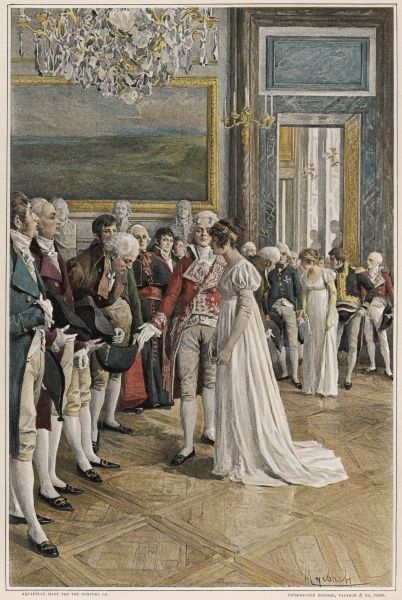 The Empress Josephine receives ambassadors at the Tuileries Palace, Paris, Talleyrand performing the introductions