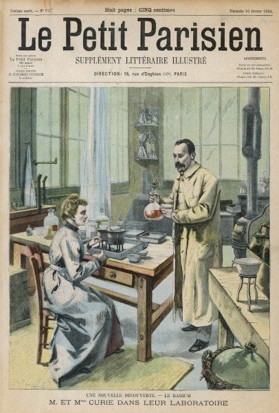 MARIE AND PIERRE CURIE French scientists in their laboratory