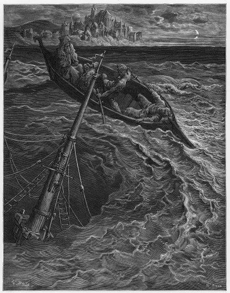 The rescue boat gets caught up in the whirlpool created by the sinking ship: 'Upon the whirl where sank the ship, The boat spun round and round&#39