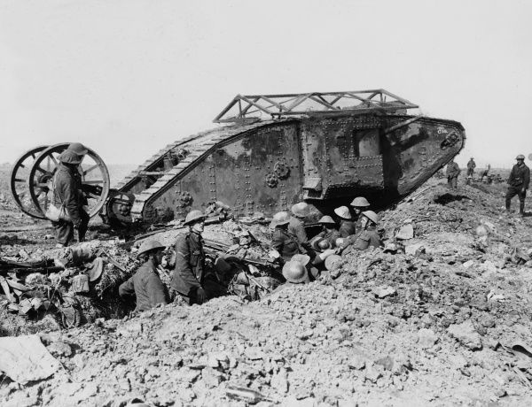A Mark I tank which had broken down as it crossed a British trench on the way to attack Thiepval