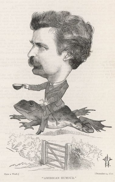 MARK TWAIN American writer Born : Samuel Langhorne Clemens Twain leaps over a five bar gate on the back of a frog
