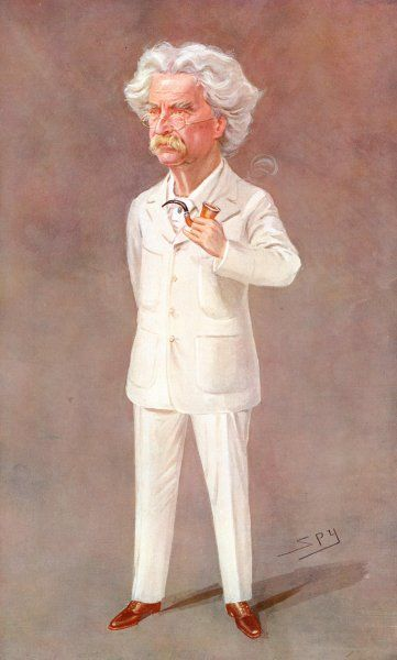 MARK TWAIN American writer Born : Samuel Langhorne Clemens Pictured in a white suit