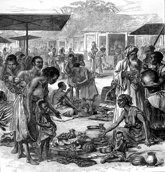 The market place at Kumasi before the arrival of the British forces during the 2nd Ashanti War