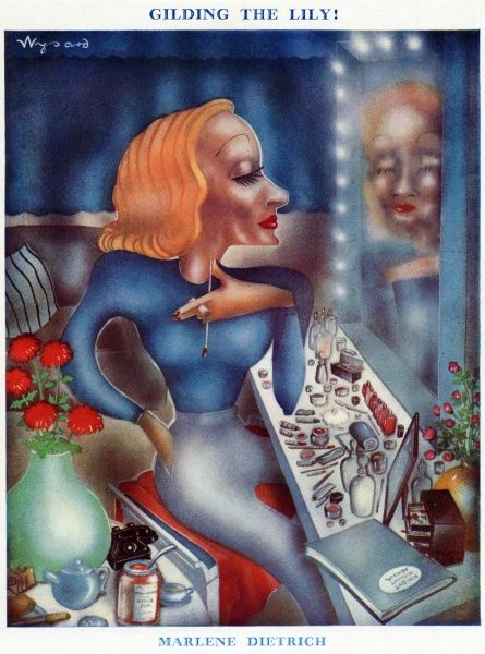 Subtitled 'Gilding the Lily', a caricature of film actress Marlene Dietrich gazing at her reflection in the mirror while at a dressing table littered with numerous bottles and pots of cosmetics