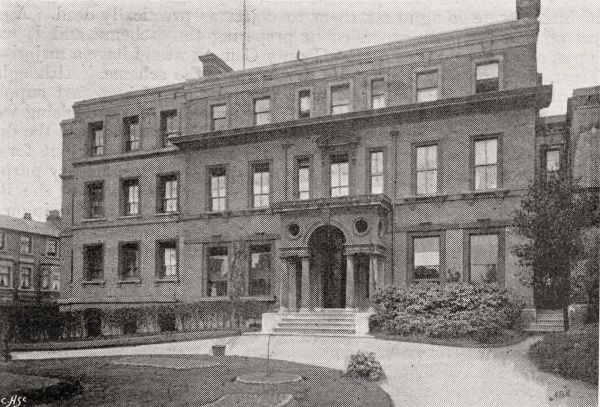 External view of Marlesford Lodge, the London Borough of Kensington and Chelsea School District's children's home at King's Street, Hammersmith. The home was a feeder home for the K&C cottage homes at Banstead, Surrey
