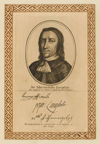 Sir MARMADUKE LANGDALE royalist military commander with his autograph
