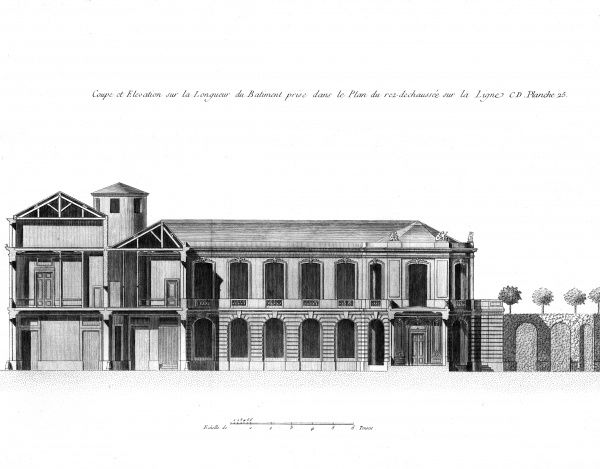 View of a marquis house in 18th century France. Designed by Francois Franque, architect of king Louis XV, for the Marquis of Ville Franche in Avignon. Date: Circa 1760