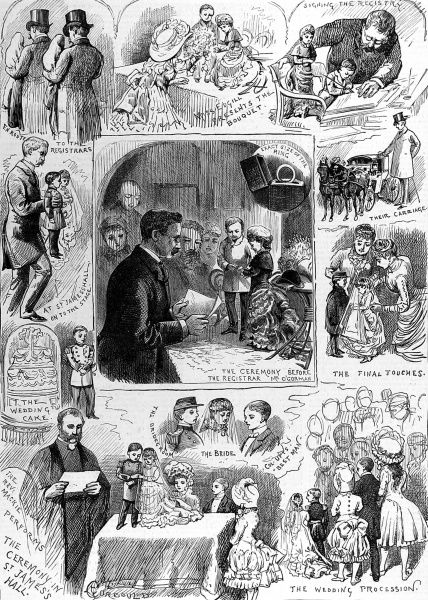 Engraving showing a series of scenes from the marriage of 'General Mite', real name Francis Joseph Flynn, and Miss Millie Edwards held at St. James Hall, Manchester, 1884. Flynn and Edwards were midgets, respectively 22 inches and 19