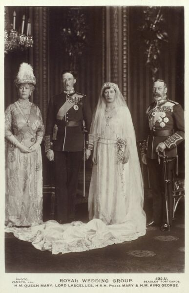 The marriage of Princess Mary (Princess Royal, Countess of Harewood) to Lord Lascelles on 28th February 1922. The happy couple are flanked by King George V and Queen Mary. Date: 1922