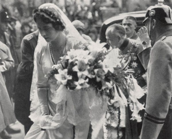 Princess Sibylle of Saxe Coburg Gotha, pictured entering the church in Coburg upon her marriage to Prince Gustav Adolf of Sweden in 1932