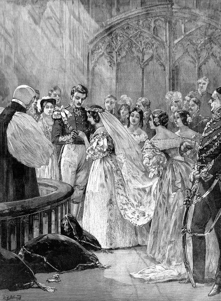 Wedding of Queen Victoria and Prince Albert at St. James's Palace on 10 February 1840. Date: 13 June 1887