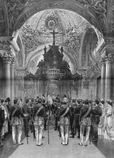 The imperial wedding at St. Petersburg, showing the ceremony in the chapel of the Winter Palace